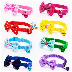 Adjustable Cat Collar Bow Tie With Bell