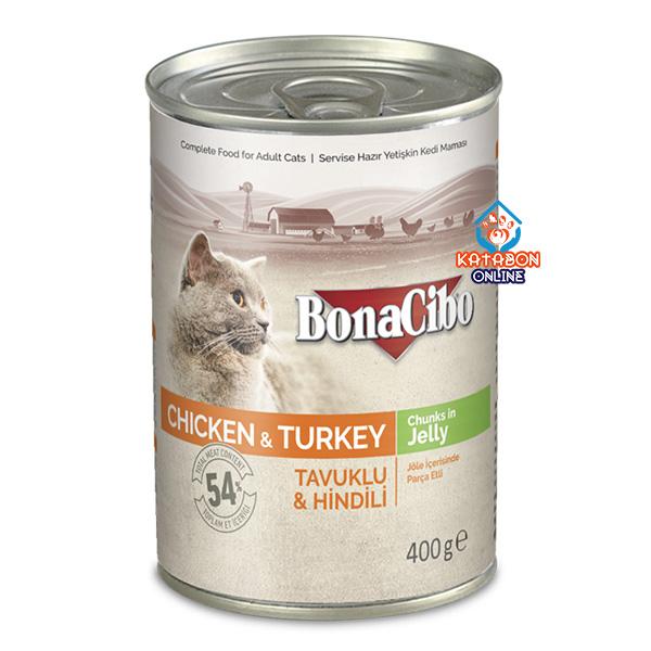 BonaCibo Canned Wet Cat Food Chicken & Turkey Chunks In Jelly 400g
