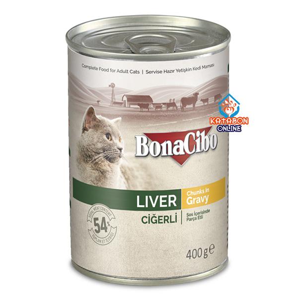 BonaCibo Canned Wet Cat Food Liver Chunks In Gravy 400g