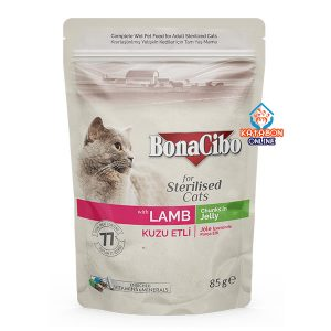 BonaCibo Pouch Adult Wet Cat Food Lamb Chunks In Jelly For Sterilised Cats 85g