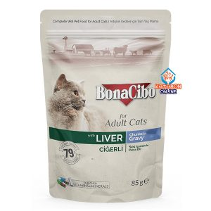 BonaCibo Pouch Adult Wet Cat Food Liver Chunks In Gravy 85g