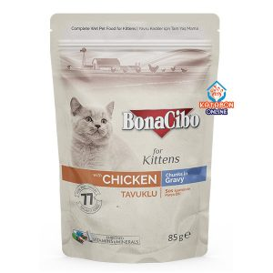 BonaCibo Pouch Kitten Wet Food Chicken Chunks In Gravy 85g