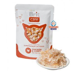 Brit Care Pouch Super Premium Adult Wet Cat Food Chicken & Cheese 80g