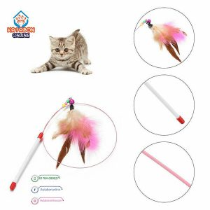 Cat Playing Toy Feather Wand Stick Teaser With Bell