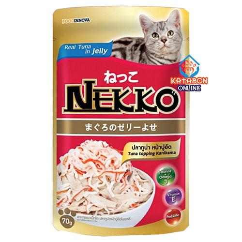 Foodinnova Nekko Adult Pouch Wet Cat Food Tuna Topping Kanikama In Jelly 70g