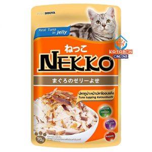 Foodinnova Nekko Adult Pouch Wet Cat Food Tuna Topping Katsuoboshi In Jelly 70g