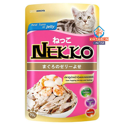 Foodinnova Nekko Adult Pouch Wet Cat Food Tuna Topping Shrimp & Scallop In Jelly 70g