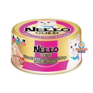 Foodinnova Nekko Gold Can Super Premium Wet Cat Food Tuna & Chicken Topping Shrimp & Scallop In Jelly 85g