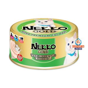 Foodinnova Nekko Gold Can Super Premium Wet Cat Food Tuna Creamy Mix Coconut Oil 85g