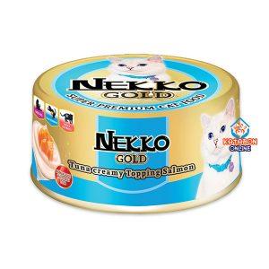 Foodinnova Nekko Gold Can Super Premium Wet Cat Food Tuna Creamy Topping Salmon 85g