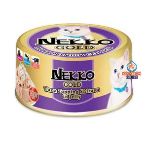 Foodinnova Nekko Gold Can Super Premium Wet Cat Food Tuna Topping Shirasu In Jelly 85g