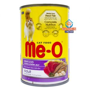 Me-O Can Adult Wet Cat Food Seafood Platter In Prawn Jelly 400g