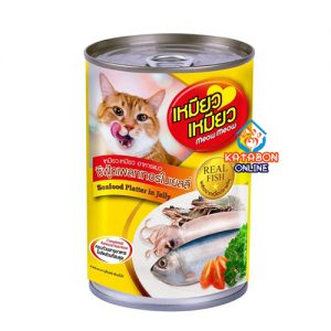 Meow Meow Can Adult Cat Wet Food Seafood Platter In Jelly 400g