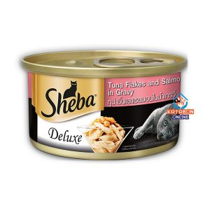 Sheba Delux Can Premium Wet Cat Food Tuna Flakes & Salmon In Gravy 85g