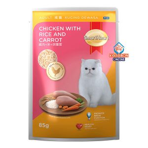 SmartHeart Adult Pouch Wet Cat Food Chicken With Rice & Carrot 85g
