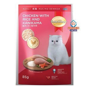SmartHeart Adult Pouch Wet Cat Food Chicken With Rice & Kanikama 85g