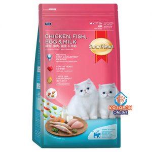 SmartHeart Kitten Dry Cat Food Chicken, Fish, Egg & Milk Flavour 450g
