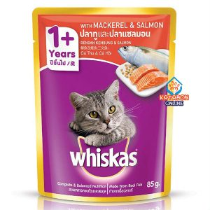 Whiskas Pouch Adult Wet Cat Food Mackeral & Salmon 85g