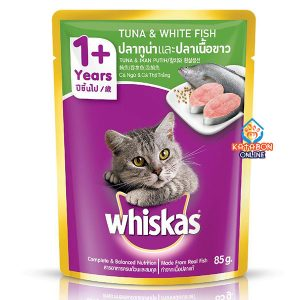 Whiskas Pouch Adult Wet Cat Food Tuna & White Fish 85g