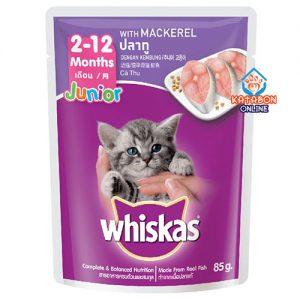 Whiskas Pouch Kitten Junior Wet Cat Food Mackerel 85g